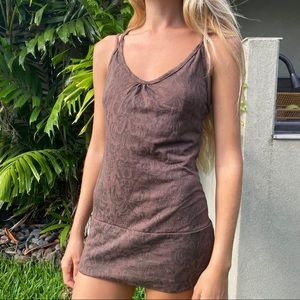Vintage brown pattern mini tank short dress